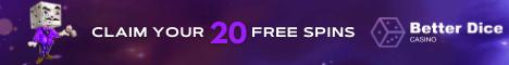 BetterDice Casino 20 free spins no deposit bonus BTC/€/$3500 Bonus