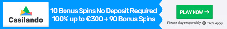 Casilando Casino 10 Free Spins no deposit Bonus