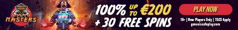 Casino Masters $/€200 Bonus + 30 Free Spins