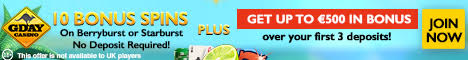 Gday Casino 10 Free Spins no deposit bonus $/£/€500 Welcome Bonus + 50 Free Spins