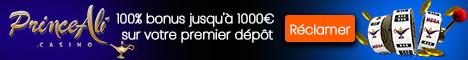 Prince Ali Casino 10€ Gratuits Bonus sans dépôt 3000€/$ Bonus