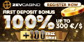 ZevCasino up to €/$300 welcome bonus + 100 Free Spins