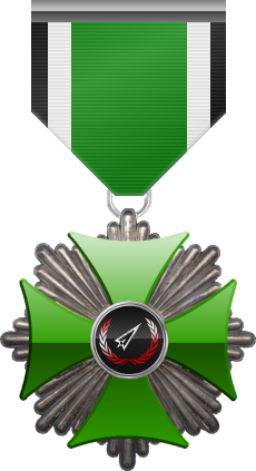 Silver level of Green Cross of the Silver Arrows - This award is given to a member who distinguished in a number of contributions made to the clan in the form of equipment, money or knowledge. Silver level is the second of six.