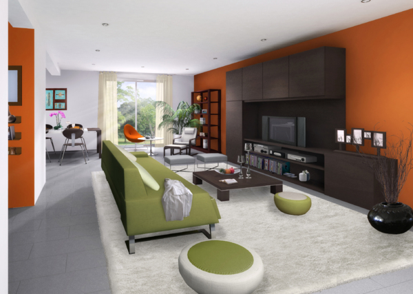 Quelles couleurs pour les murs de mon salon avec meubles weng fonc - Idee deco couleur mur ...